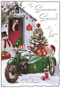 Jonny Javelin Someone Special Christmas Card - Green Motorbike & Glitter 9x6.25""