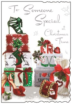 "Jonny Javelin Someone Special Christmas Card Gifts High Heels & Glitter 9""x6.25"""