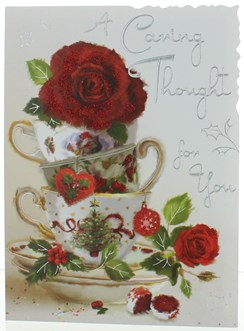 """Jonny Javelin Thinking Of You Christmas Card - Red Roses In Tea Cup 7.25"""" x 5.5"""""""