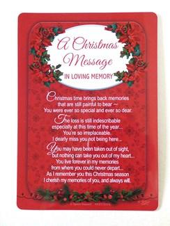 "Loving Memory Christmas Graveside Memorial Card - Christmas Message 6.25""x4.25"""