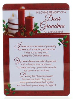 "Loving Memory Christmas Graveside Memorial Card - Dear Grandma 6"" x 4"""