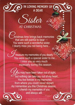 "Loving Memory Christmas Graveside Memorial Card - Dear Sister 6.5"" x 4.75"""