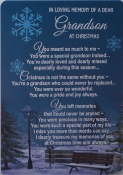 "Loving Memory Christmas Graveside Memorial Card - Grandson 6"" x 4"""