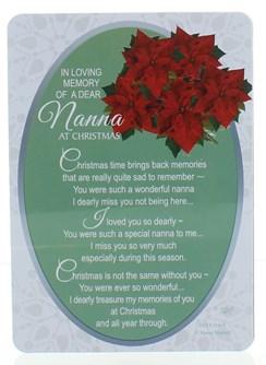 "Loving Memory Christmas Graveside Memorial Card - Dear Nanna 6.5"" x 4.75"""