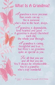 "Xpress Yourself Mini Keepsake Card 3.25"" x 2"" - What Is A Grandma?"