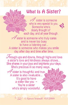 "Xpress Yourself Mini Keepsake Card 3.25"" x 2"" - What Is A Sister?"