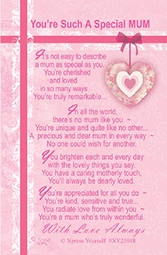 "Xpress Yourself Mini Keepsake Card 3.25"" x 2"" - You're Such A Special Mum"