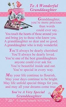 "Xpress Yourself Mini Keepsake Card 3.25"" x 2"" - To A Wonderful Granddaughter"