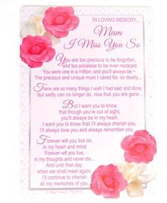 "Loving Memory Graveside Memorial Day Card - Mum I Miss You So 6.25""x4.25"""
