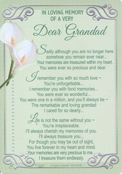 "Loving Memory Graveside Memorial  Card Green with Lily's - Dear Grandad 5.75""x4"""