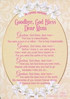 """Loving Memory Graveside Memorial Day Card - Goodbye God Bless Mum 6.25""""x4.25"""""""