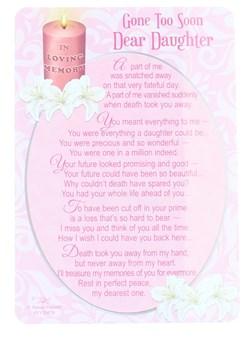 """Loving Memory Open Graveside Memorial Card - Daughter 6"""" x 4"""""""