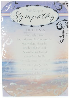Sympathy Card - Footprints on Beach with Silver Foil  7.75x5.25""