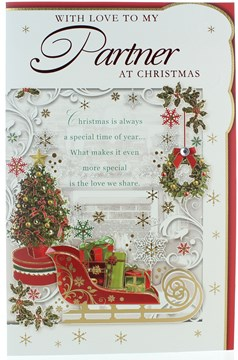 """Partner Christmas Card- Sleigh with Gifts Tree Wreath Snowflakes & Foil 11"""" x 7"""""""