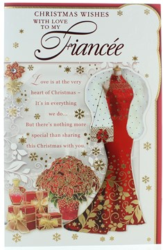 """Fiancee Christmas Card - Red Dress Poinsettia Gifts & Gold Foil 11"""" x 7"""""""