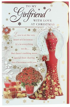 """Girlfriend Christmas Card - Red Dress, Poinsettia, Gifts & Gold Foil 10.75"""" x 7"""""""