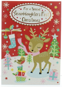 """Granddaughter's First Christmas Card - Cute Deer Robin Gifts & Trees 7.5x5.25"""""""