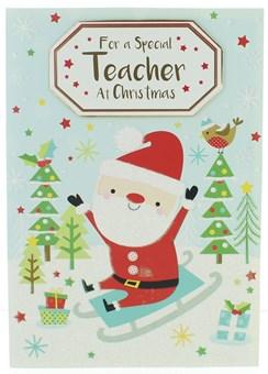 """Teacher Christmas Card -Santa on Sleigh with Trees Gifts Glitter & Foil 7.5x5.5"""""""