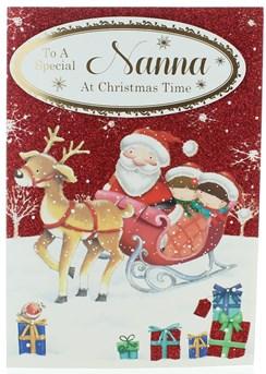 "Nanna Christmas Card - Santa & Children on Sleigh with Glitter & Foil 7.75x5.25"""