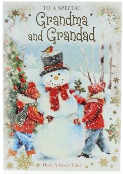"Grandma & Grandad Christmas Card- Children Building Snowman with Glitter 7x5.25"""