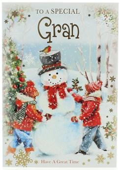 "Gran Christmas Card - Children Building Snowman with Glitter & Foil 7.75x5.25"""