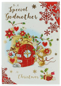 """Godmother Christmas Card - Mouse & Little House With Flowers & Gold 7.5"""" x 5.25"""""""