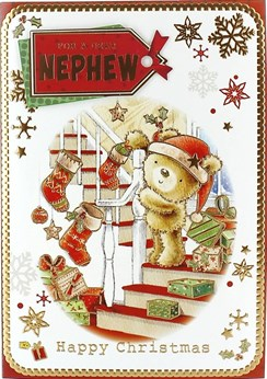 Nephew Christmas Card Cute Santa Bear Stockings on Staircase Gold Foil 7.5x5.25""