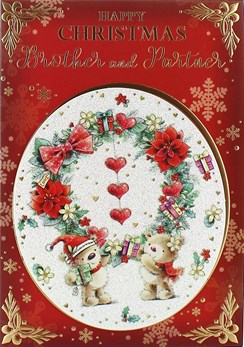 "Brother & Partner Christmas Card - Cute Santa Bears & Giant Wreath 7.5"" x 5.25"""