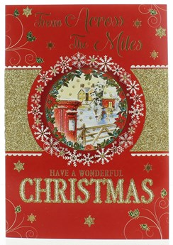 """Across The Miles Christmas Card Postbox Snowflake Circle Gold Glitter 7.5""""x5.25"""""""