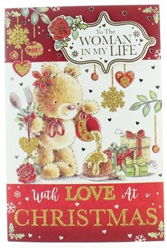 """Girlfriend Christmas Card - Cute Bear Xmas Pudding with Glitter and Foil 9""""x6"""""""