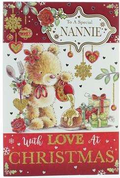 "Nannie Christmas Card - Bear, Christmas Cake, Gifts, Glitter & Foil 9"" x 6"""