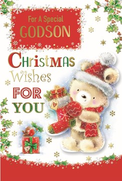 """Godson Christmas Card -Bear in Santa Hat with Stocking Gift & Foil Detail 9 x 6"""""""