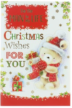 """Man In My Life Christmas Card - Bear in Santa Hat with Stocking & Gold Foil 9x6"""""""