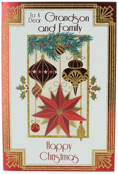 """Grandson & Family Christmas Card - Baubles Star with Gold Glitter 9x6"""""""
