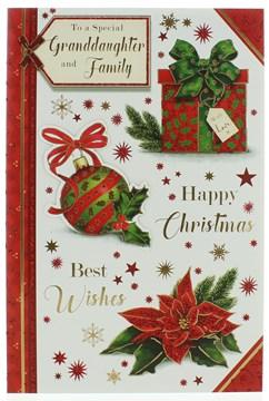 "Granddaughter & Family Christmas Card - Gift, Bauble, poinsettia & Glitter 9""x6"""