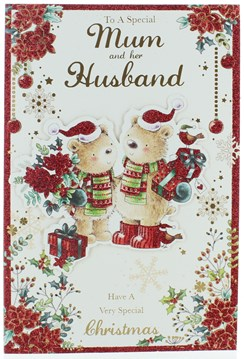 """Mum & Husband Christmas Card - Bears in Santa Hat With Gifts Poinsettia 9 x 6"""""""