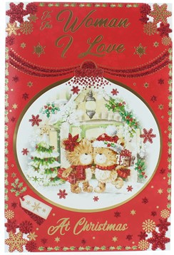"""Woman I Love Christmas Card - Bears with Gifts in 3D Bauble with Glitter 9"""" x 6"""""""