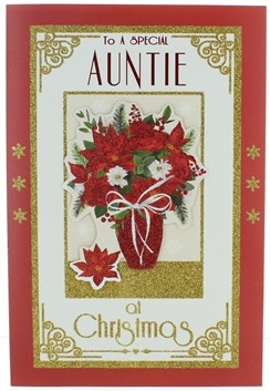"""Auntie Christmas Card -  Vase of Flowers with Glitter & Foil Detail 9"""" x 6.25"""""""