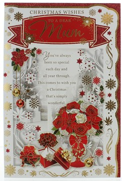 """Mum Christmas Card - Traditional Red Flowers in Vase with Gold Foil 9""""x6"""""""