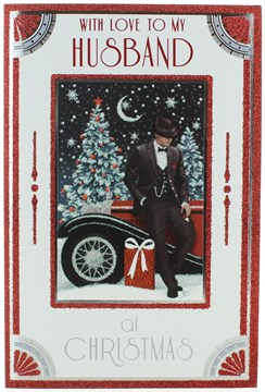 """Husband Christmas Card - Man by Red Car with Gift Glitter & Foil 9"""" x 6"""""""