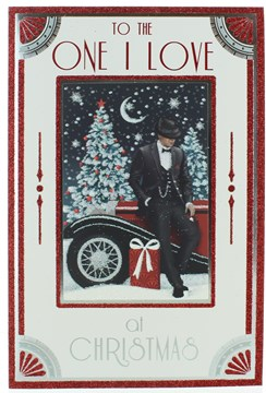 """One I Love Christmas Card - Man in Suit & Hat by Car with Gifts & Foil 9"""" x 6"""""""