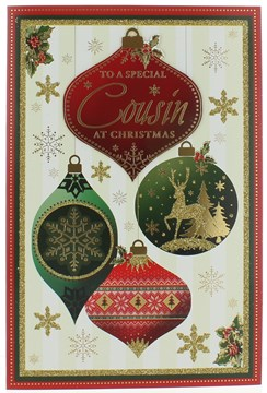 Daughter & Family Christmas Card -Baubles With Gold Foil & Glitter Detail 9 x 6""