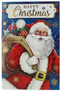 "Open Christmas Card - Santa With Gifts, Snowflakes Glitter & Gold Foil  9"" x 6"""