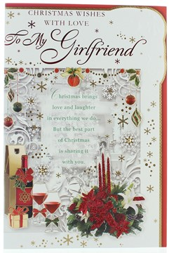 """Girlfriend Christmas Card -  Red wine, Candles Flowers Foil & Glitter 9"""" x 6"""""""