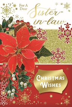 """Sister-in-Law Christmas Card - Poinsettia Flower with Gold Foil Glitter 9 x 6"""""""