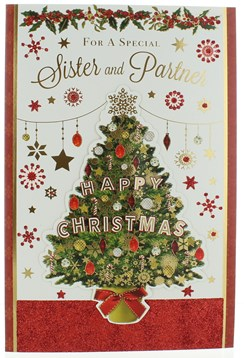 "Sister & Partner Christmas Card - Christmas Tree With Gold Foil & Glitter  9""x6"""