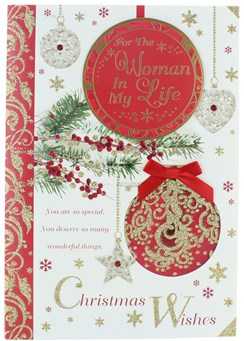 """Women In My Life Christmas Card - Baubles & Berries with Glitter & Foil  9"""" x 6"""""""