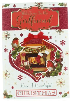 """One I Love Christmas Card - 3D Bauble with Fire Place Gifts & Robins 10"""" x 7"""""""