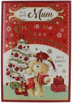 "Mum Christmas Card -  Cute Bear Xmas Tree & Presents with Glitter and Foil 9""x6"""