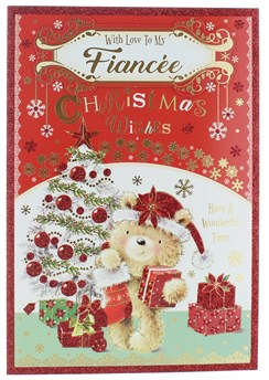 """Fiancee Christmas Card - Bear in Santa Hat with Gifts Xmas Tree & Glitter 10x7"""""""